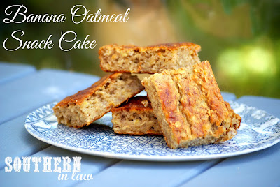 Healthy Banana Oatmeal Snack Cake Recipe with Healthy Cream Cheese Frosting - Gluten Free, Low Fat, Sugar Free