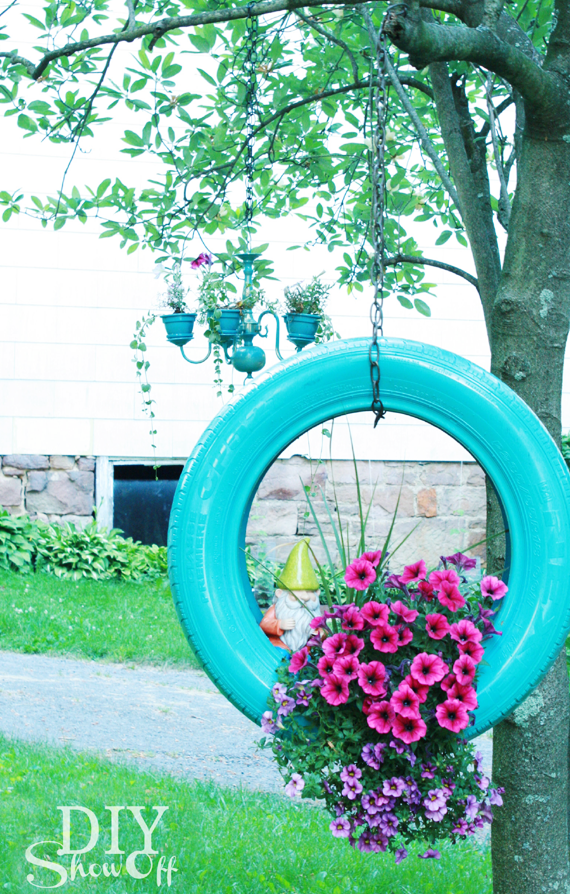 Make a diy painted tire planter from old tires creative - Painted tires for flowers ...