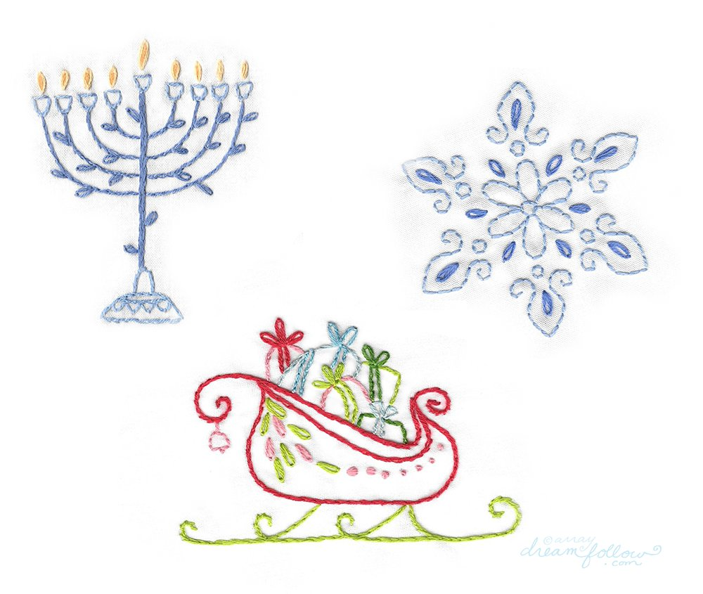 Little dear tracks free holiday embroidery patterns