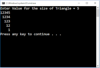 Write C++ Program to draw up side down triangle using 1234..