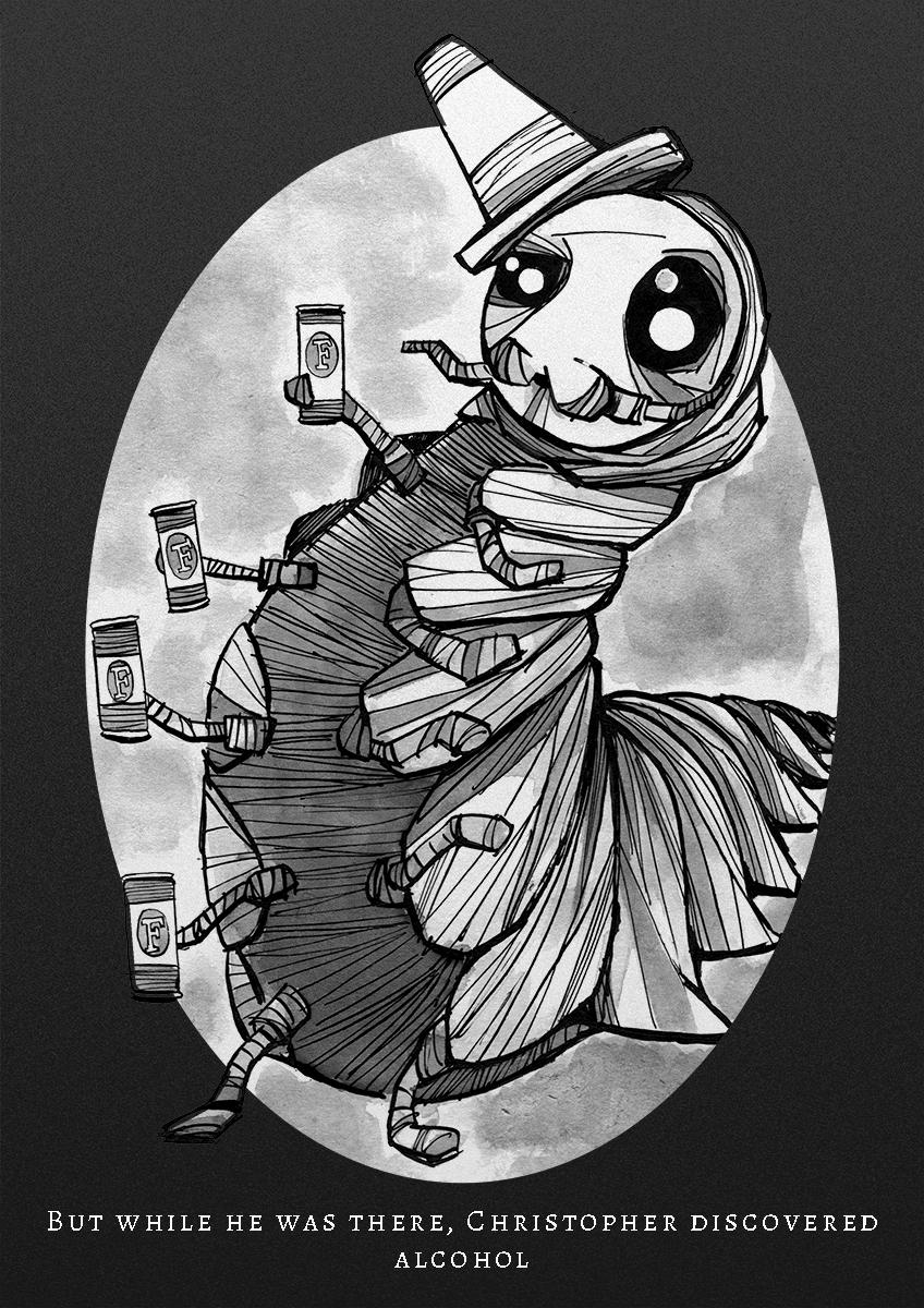 Drunk caterpillar illustration