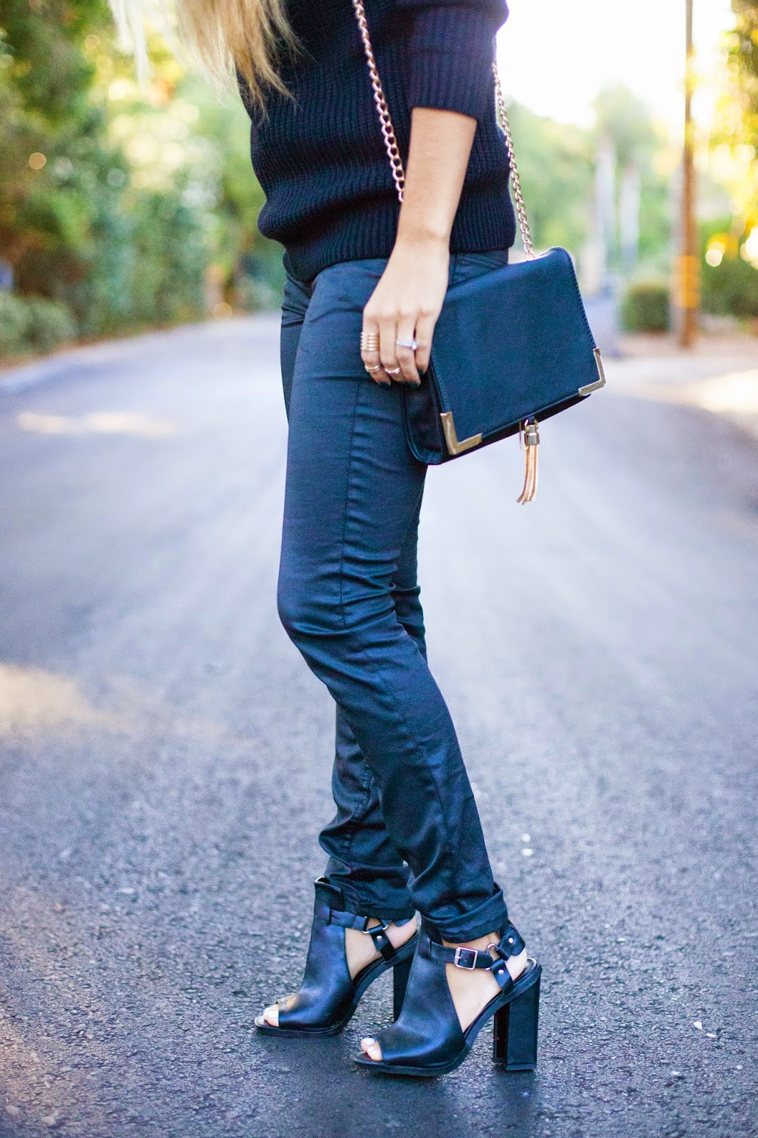 black faux leather and black chunky heels