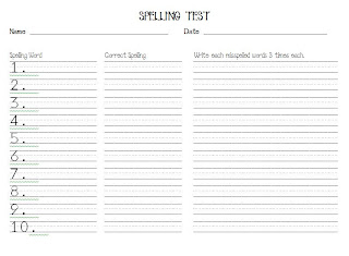 Spelling Test Template 1 10 Spelling tests!