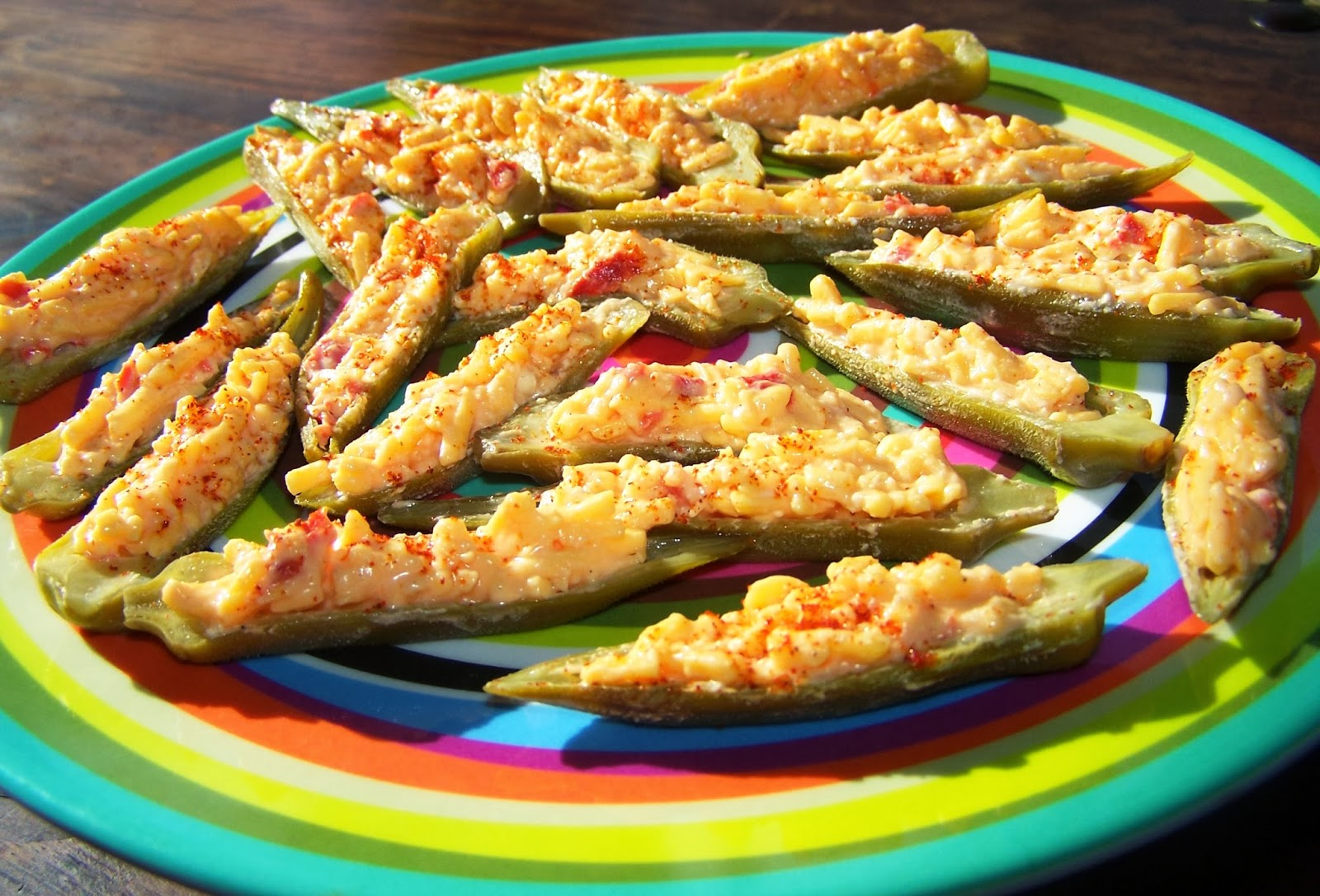 Pimiento Cheese Stuffed Pickled Okra