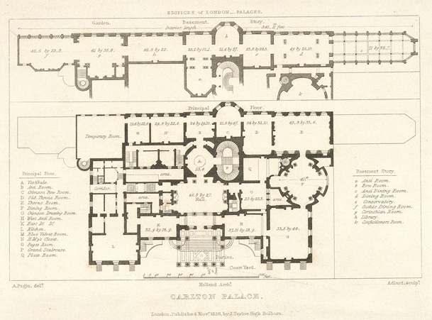 Mansion floor plans carlton palace house london england for Palace plan