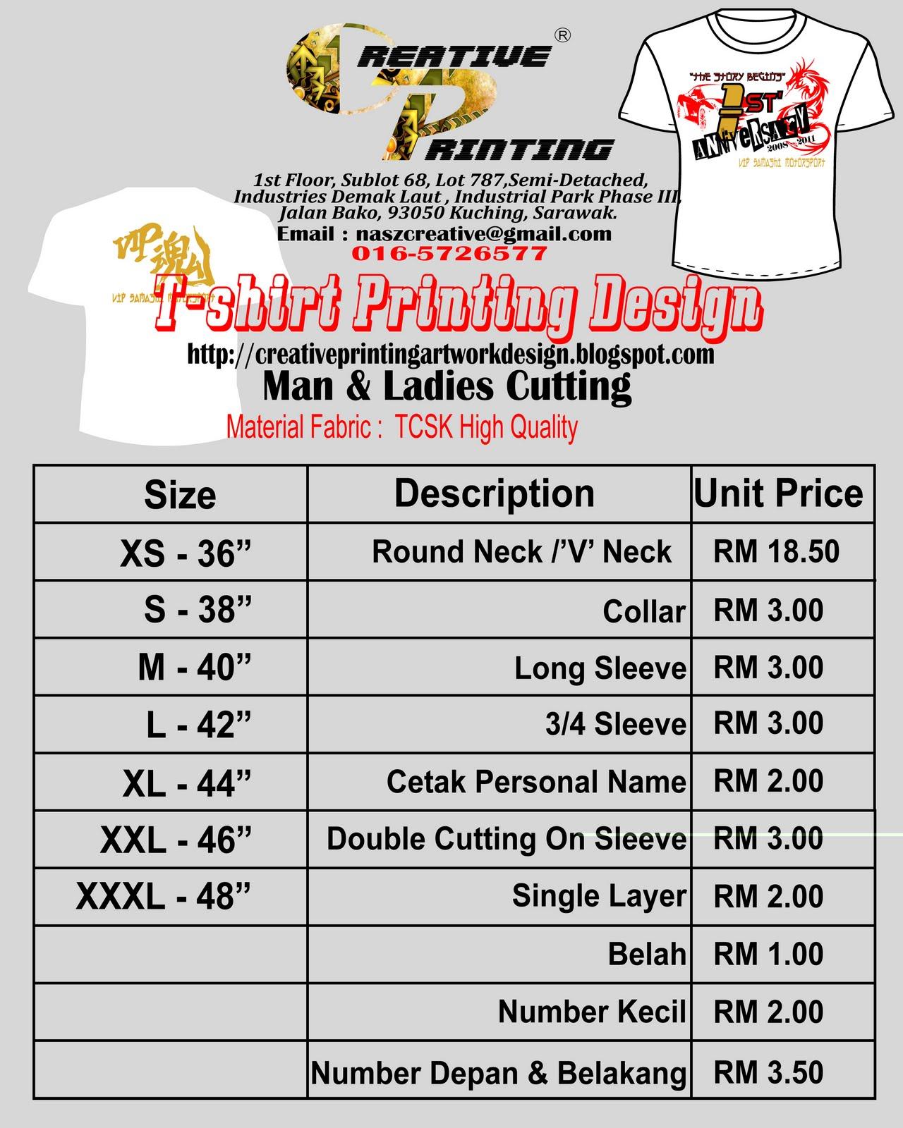T Shirts Printing Price