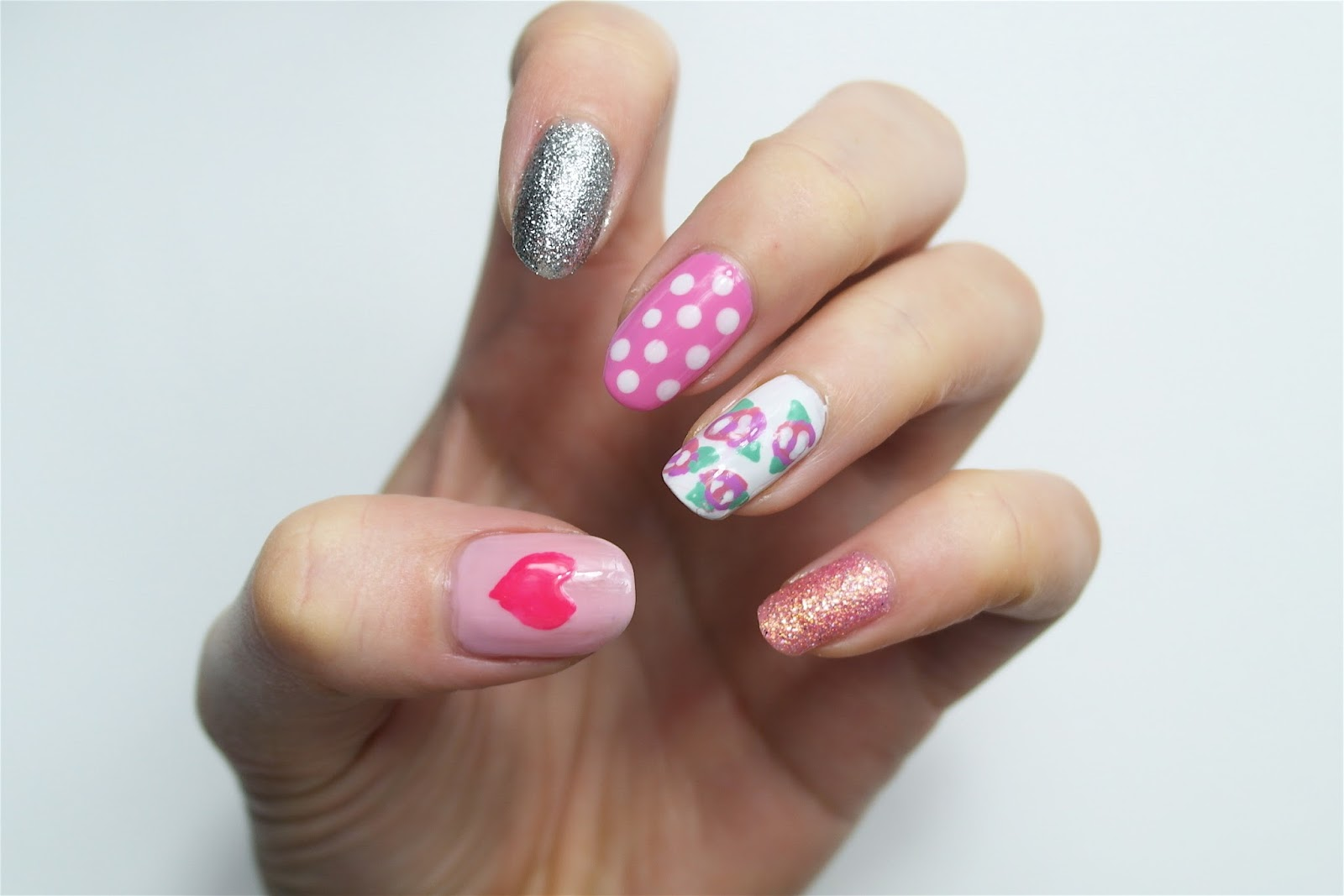 rose, heart and polka dot nails