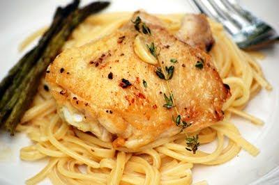 Chicken Pasta With Thyme-Mint Cream Sauce Recipe — Dishmaps