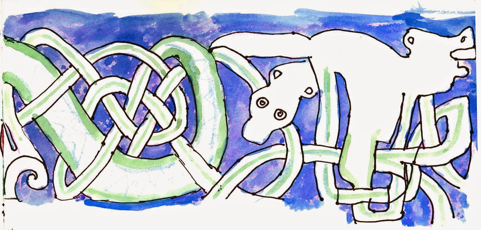 My pen and watercolour sketch of the knotwork fragment