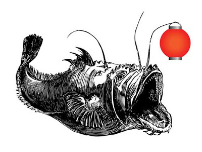 angler fish illustration with Chinese lantern