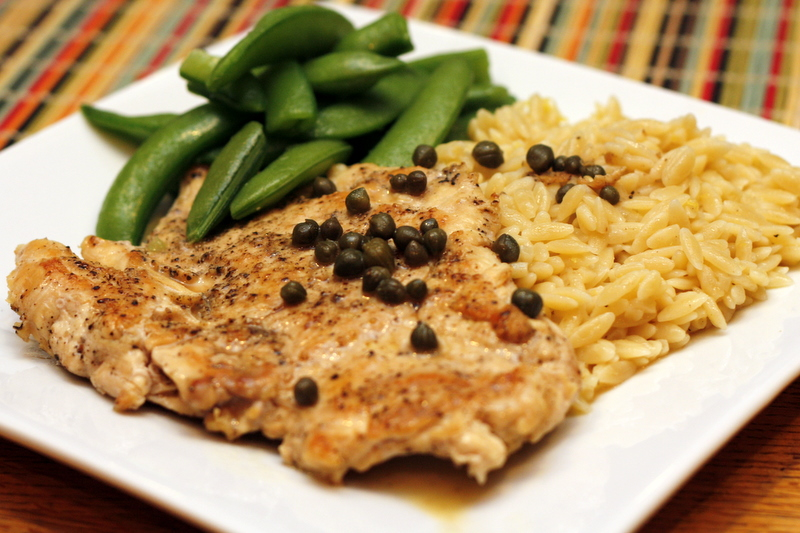 Above an Italian Restaurant: Chicken Piccata with Lemony Orzo