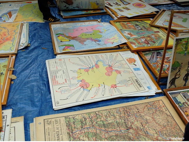 Braderie de LiIle 2014 et 2015, carte du monde planisphère vintage Champs de Mars La Deule brocante braderie Lille ThatsMee.fr
