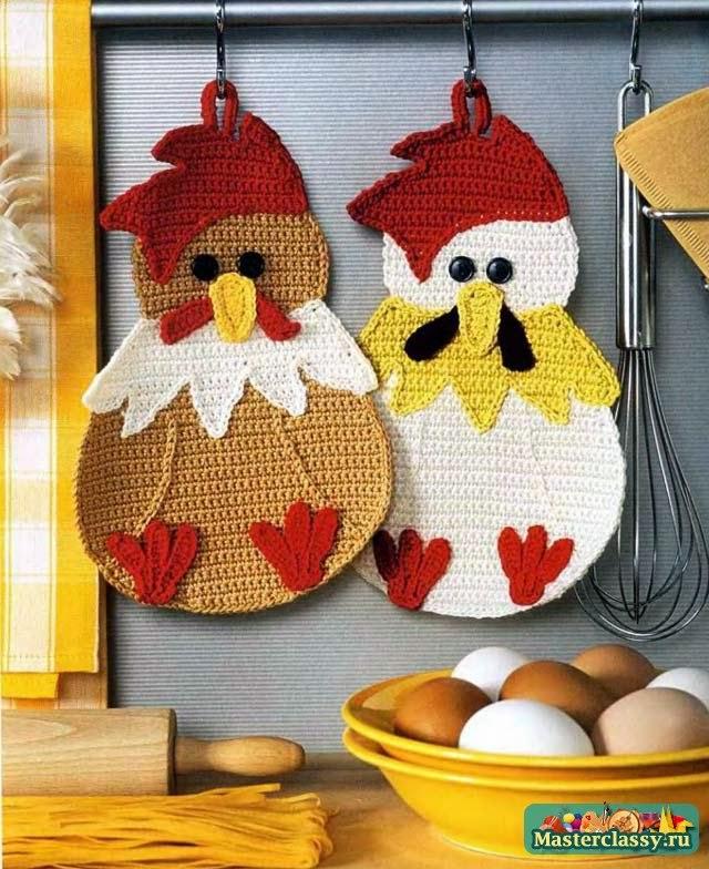 Пасхальные поделки. Курица и цыплята вязаные