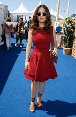 Actress Salma Hayek wearing her vintage inspired sunglasses