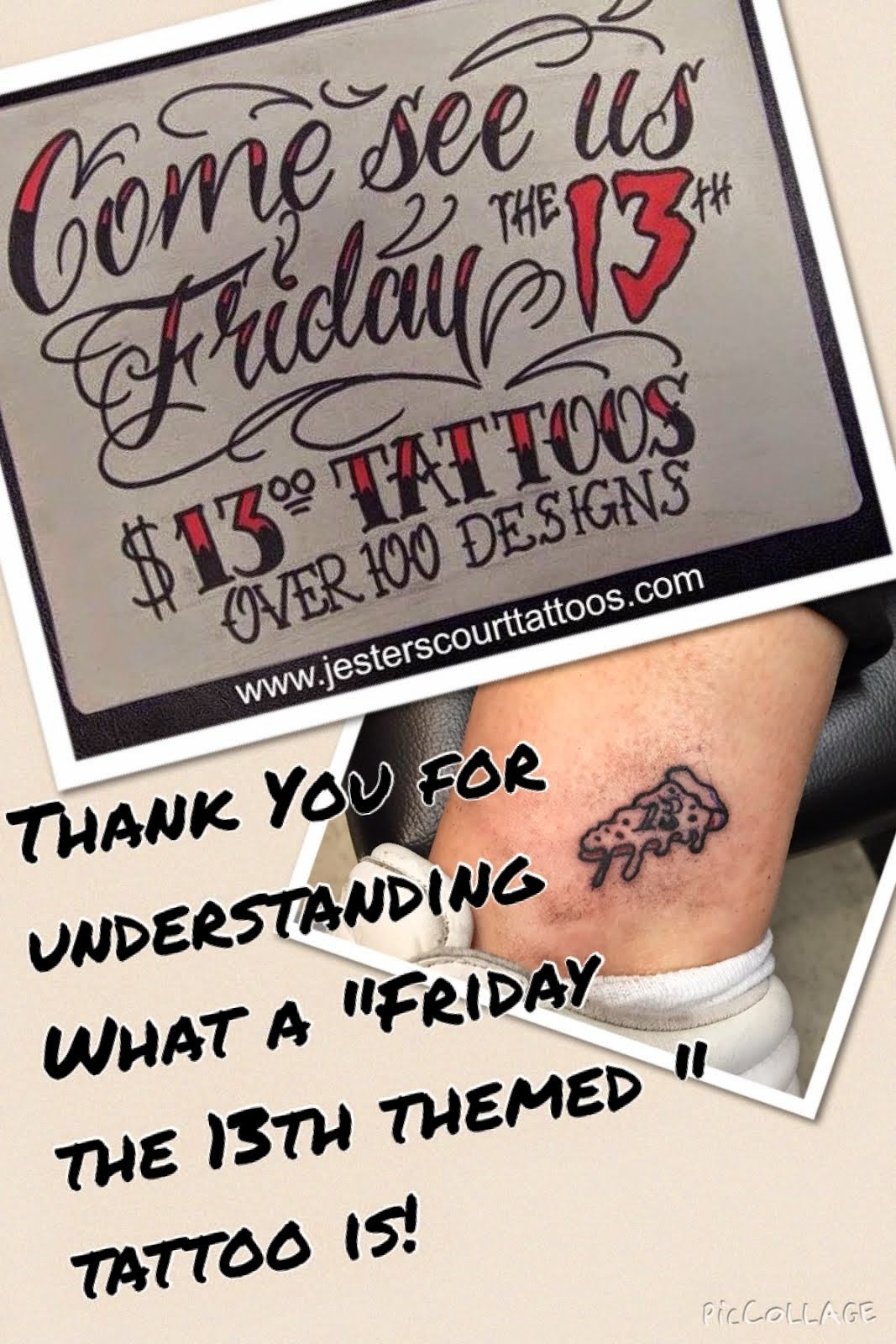 Jesters court tattoos and more friday the 13th special for Black friday tattoo deals