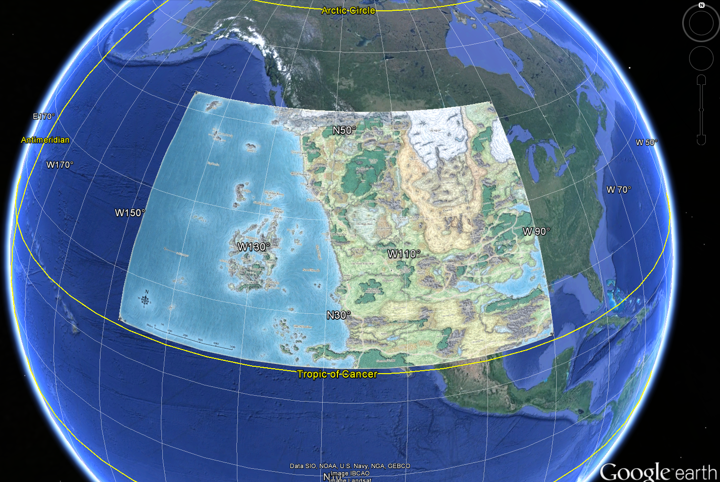 Auto Generated Nerdy Mapping Fun With Faerun And Google Earth Part I - Map with latitude and longitude google