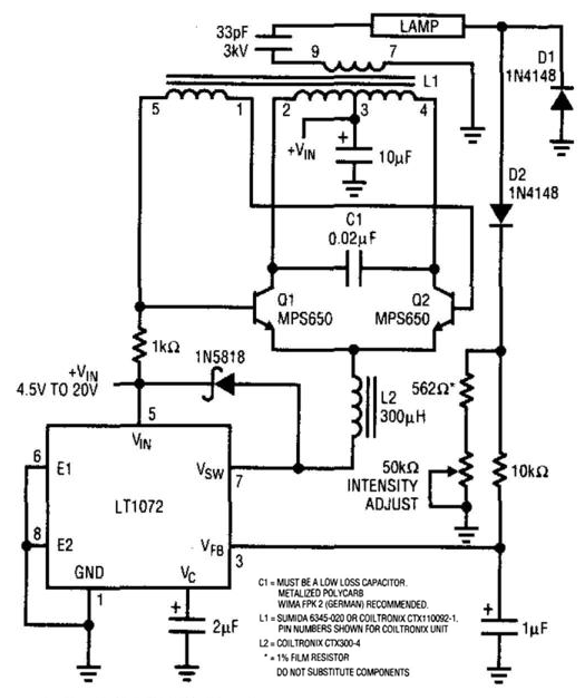 Cold-Cathode Fluorescent-Lamp Supply Circuit Diagram