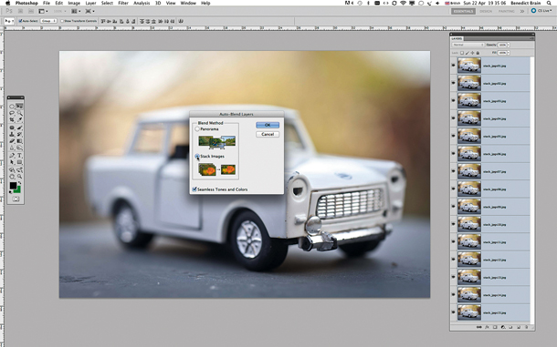 Focus Stacking: use Photoshop's auto blend function