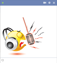 Facebook emoticon singing loud