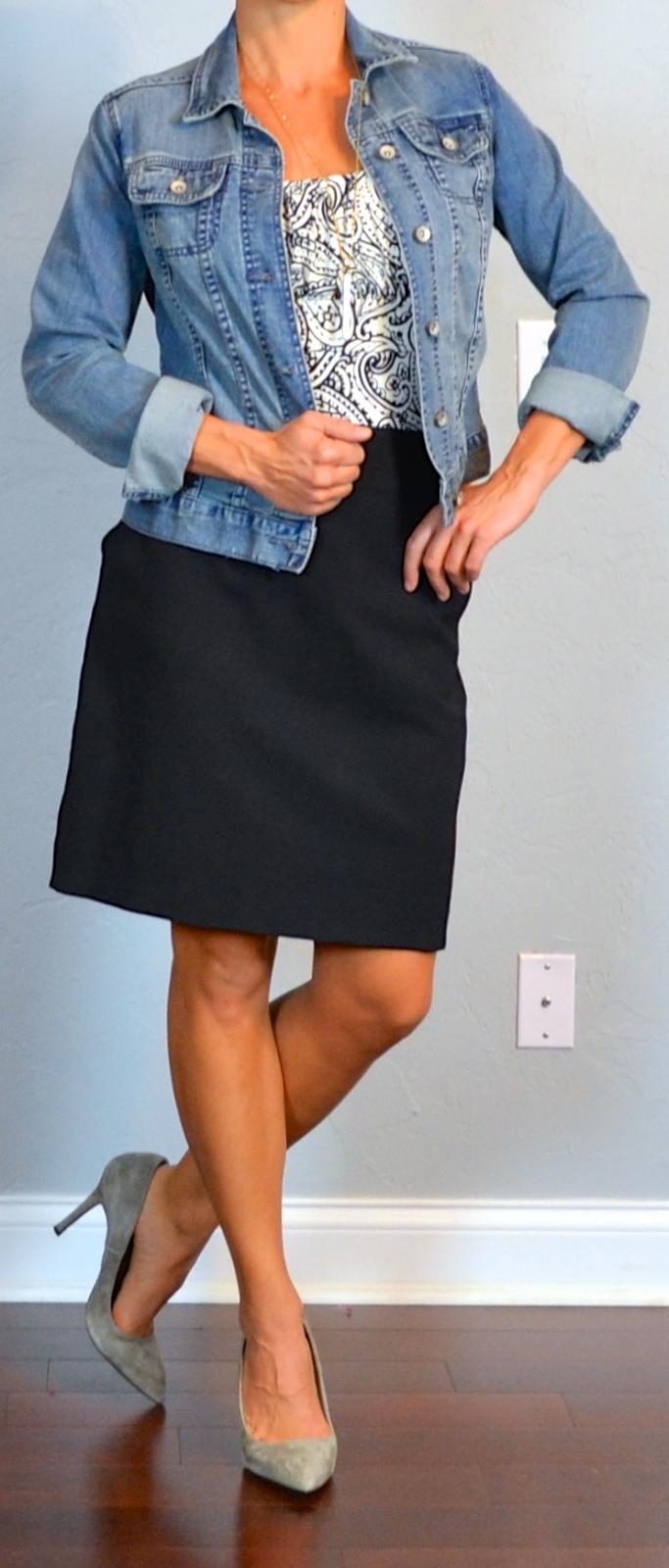 outfit post: print blouse, jean jacket, black pencil skirt ...