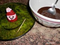 chocolate derretido para hacer la cara
