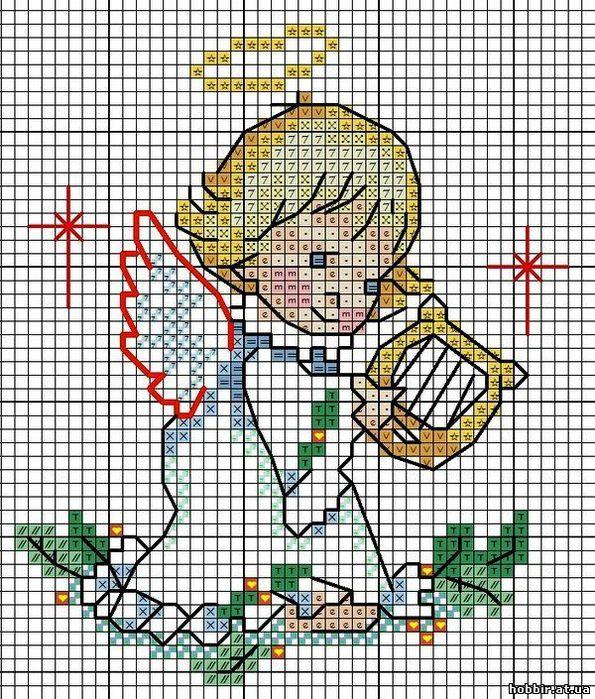 Вышивка ангелов и ангелочков - схема вышивки крестом скачать