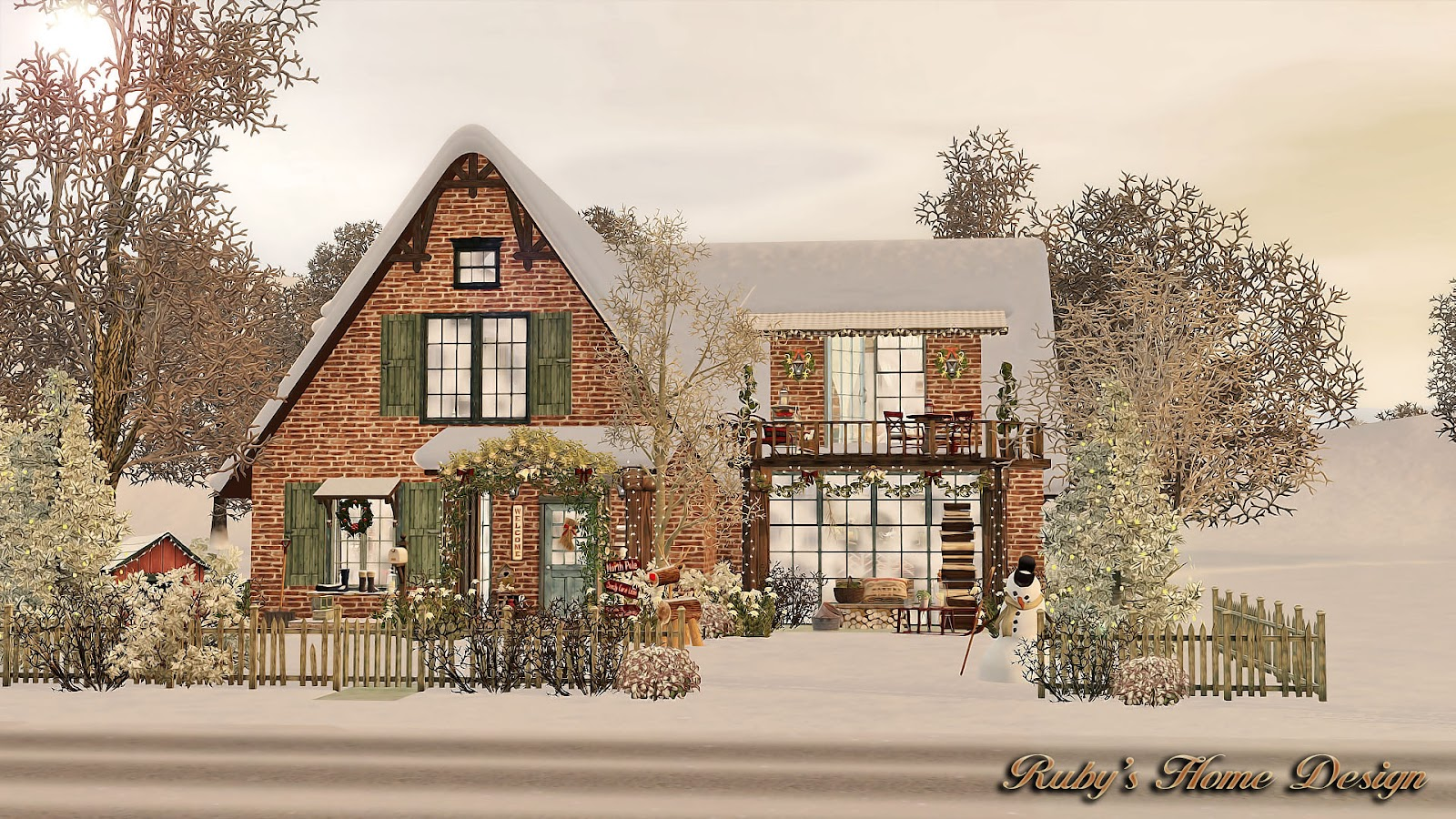 Sims3 christmas cottage ruby 39 s home design for 3 4 house