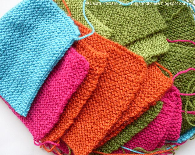 Knitting Patterns Squares : Bugs and Fishes by Lupin: Simple Squares