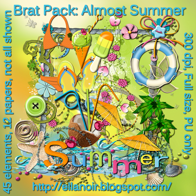 "Free scrapbook kit ""Almost Summer"" from Ellanoir"