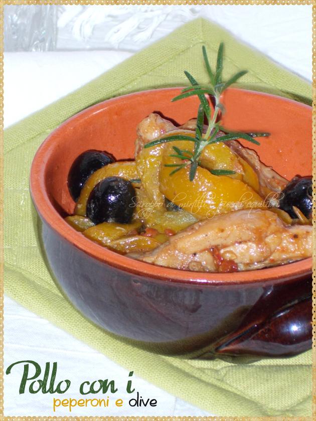 Teglia di coccio con pollo peperoni ed olive