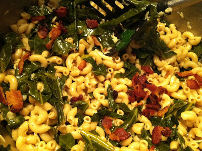 Pasta with Greens, Gruyere and Bacon. Cooking Chat recipe.