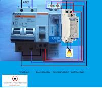 manual automatico con contactor y maniobra reloj horario