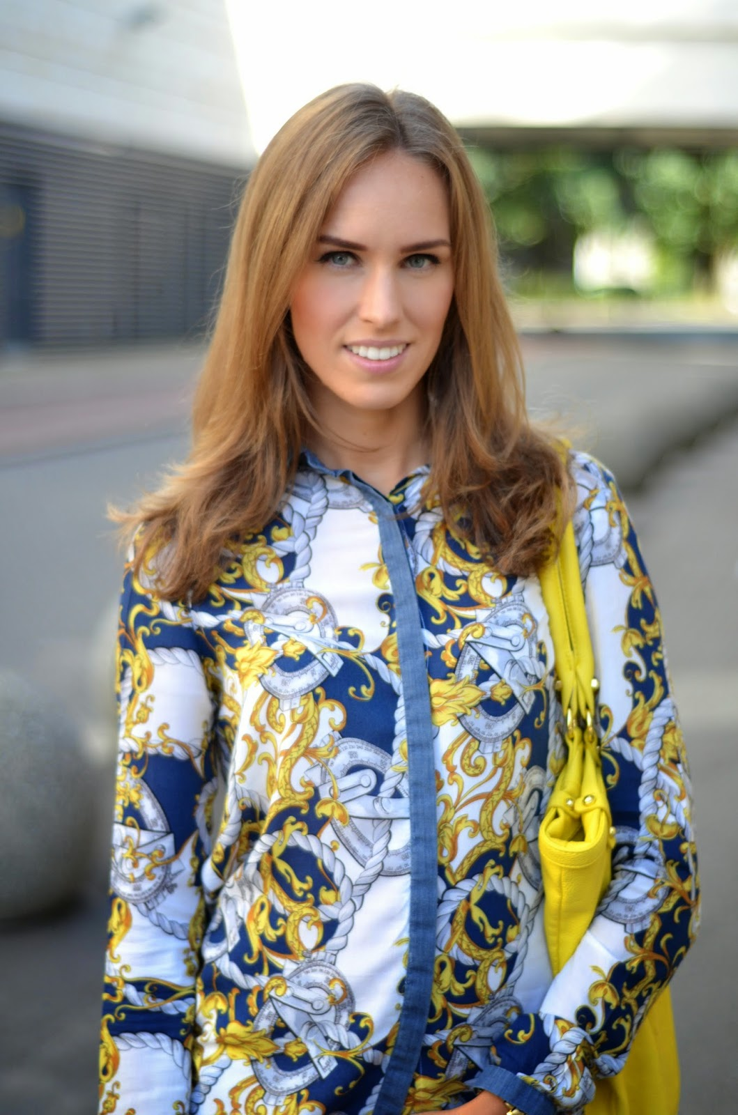 stradivarius anchor print shirt monton yellow bag