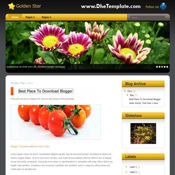 Golden Star Blogger Template. css template to blogger template. magazine style template