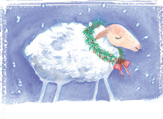 Shiho Nakaza illustration friday wool sheep holiday winter snow watercolor