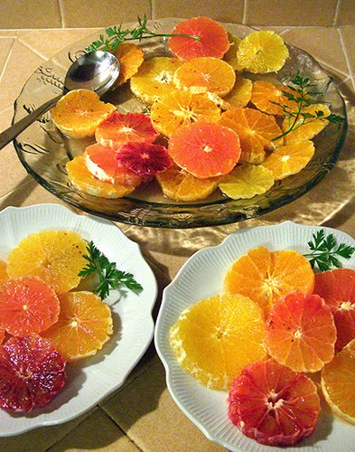 Platter and 2 plates of Citrus Salad