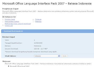 merubah ms office 2007 menjadi berbahasa indonesia