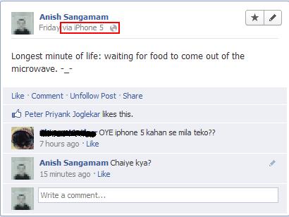 facebook status via