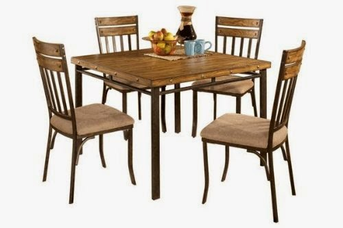 roundhill furniture 5piece wood and metal