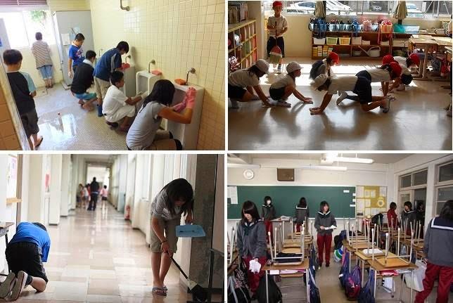 Studenti giapponesi puliscono la propria scuola, niente bidelli