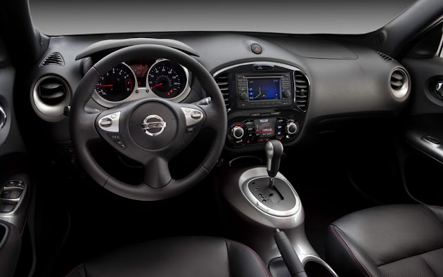 Interior view of 2013 Nissan Juke...black with automatic transmission and navigation
