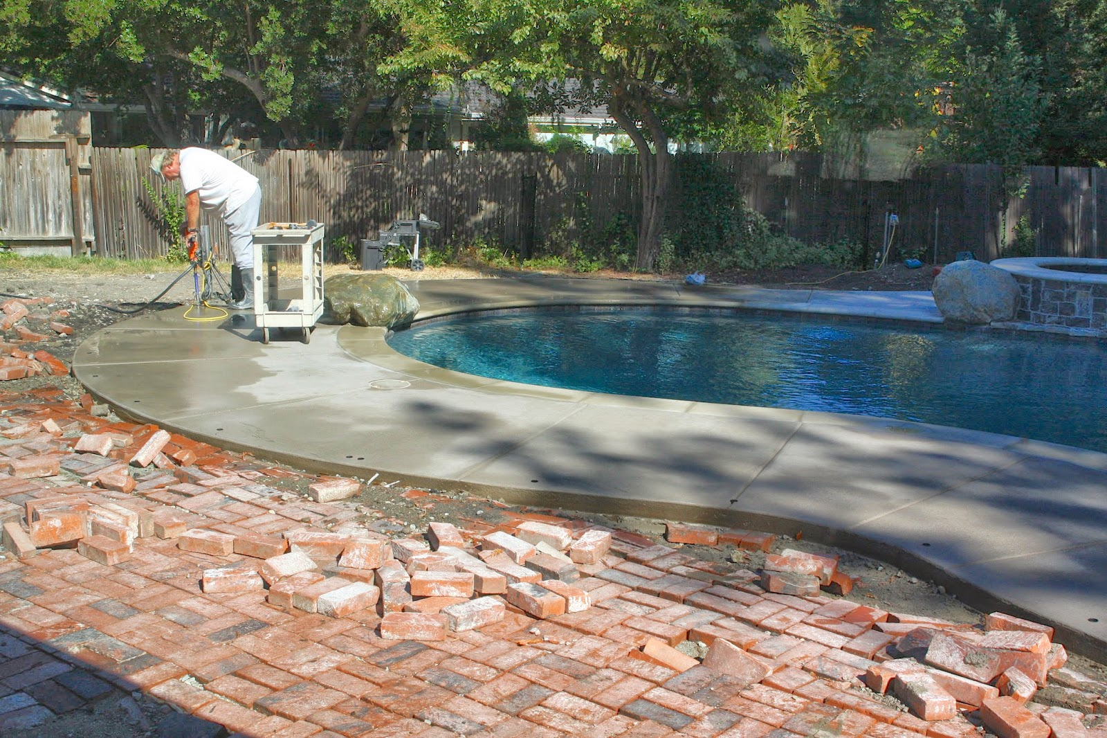 Brick Pool Deck Backyard Update Pool Fence & Brick Patio Completed  Simply Organized