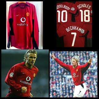 gambar desain klasik jersy retro Jersey retro lengan panjang Man United home Vodafone tahun 2003/2006 kualitas grade AAA di enkosa sport toko online jersey bola terpercaya