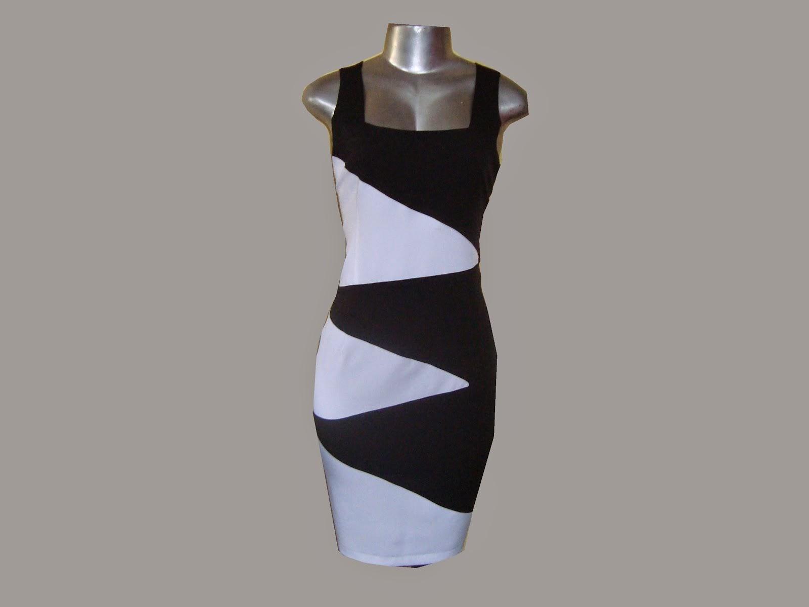 vestido tubinho de prada preto e branco