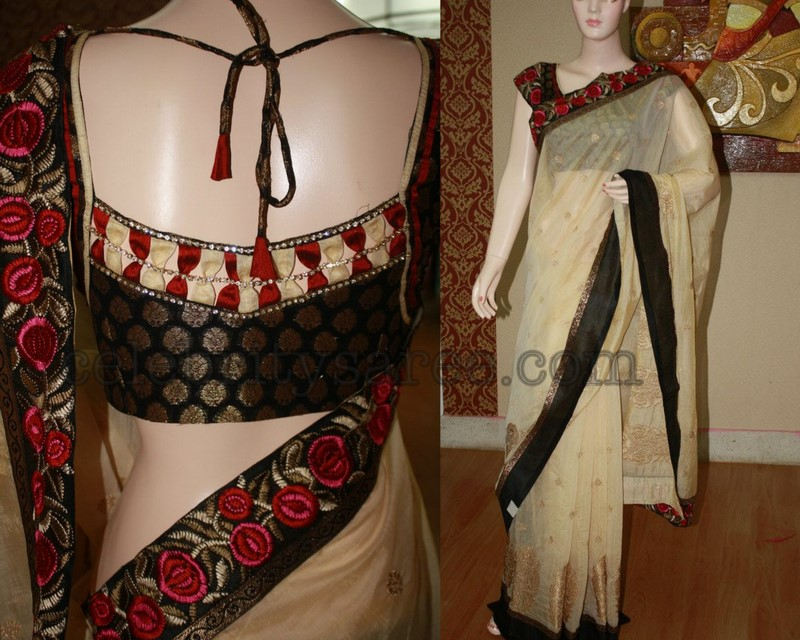 Embroidery applique off white saree saree blouse patterns