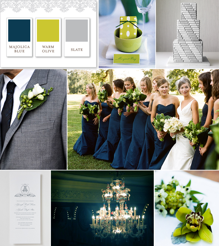 Cheers to novelty navy blue olive green and slate for Wedding color scheme ideas