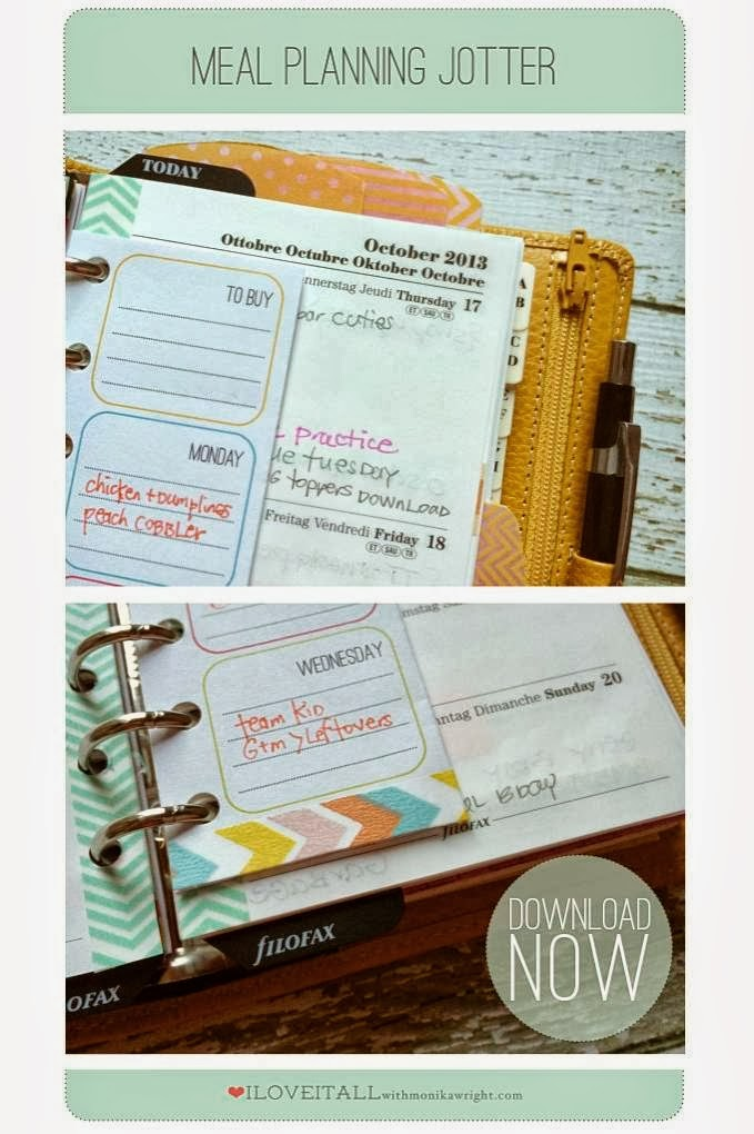 Filofax Friday | Meal Plan Jotter | iloveitallwithmonikawright.com
