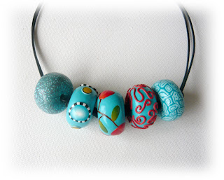 Turquoise Millefiori Oblate Necklace