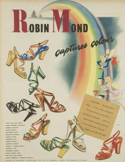 vintage 1950s ad for high heeled sandals