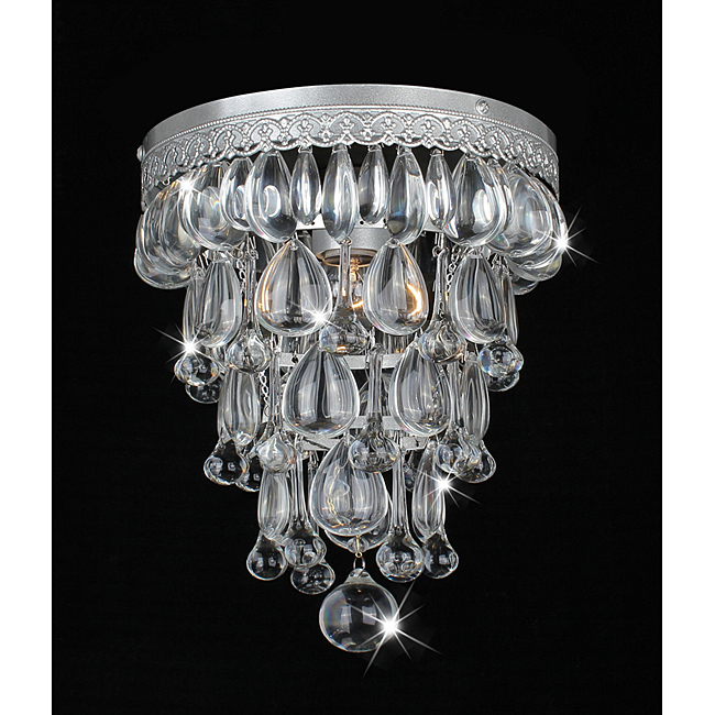 OVERSTOCK'S CONE SHAPE MATTE SILVER FLUSHMOUNT CEILING CHANDELIER